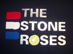WOMENS RETRO ICONIC `THE STONE ROSES` TRI-COLOUR T-SHIRT